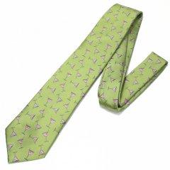 黄緑・思わずもう一杯!飲みたくなりますカクテルの刺繍柄面白ネクタイ