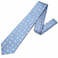 水色・ダイスだらけでパラダイス!!ころころサイコロの刺繍柄面白ネクタイ