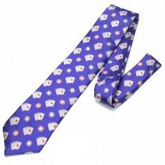 青・気分はカジノディーラー!ポーカー・トランプ&チップの刺繍柄面白ネクタイ