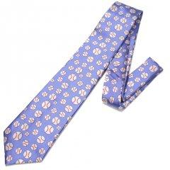 水色・野球ボール・ドットの刺繍柄面白ネクタイ