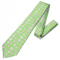 黄緑色・野球ボール・ドットの刺繍柄面白ネクタイ