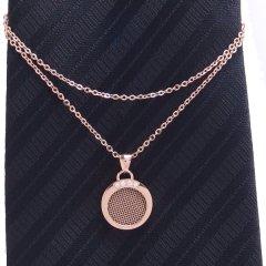 ラウンド・ピンクゴールド・特許取得の多孔質金属で香りもまとえるネクタイチェーン
