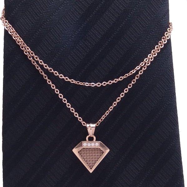 ダイヤ・ピンクゴールド・特許取得の多孔質金属で香りもまとえるネクタイチェーン
