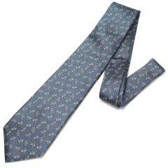 【富士桜工房】納戸・蜻蛉とんぼ・日本製シルクジャカードの和風ネクタイ