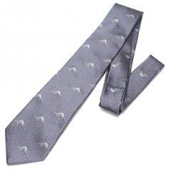 【富士桜工房】シルバー・富士山柄・日本製シルクジャカードの和風ネクタイ