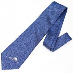 【富士桜工房】紺色・鮫小紋に富士山の刺繍・日本製シルクジャカードの和風ネクタイ