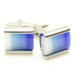 4色ブルーのグラデーション・キャッツアイのカフス(カフリンクス/カフスボタン)