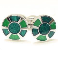 2色のグリーン緑・ラウンドのカフス(カフリンクス/カフスボタン)