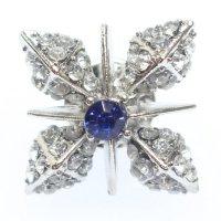 きらきら輝く青ブルーストーン雪の結晶のラペルピン・ブローチ
