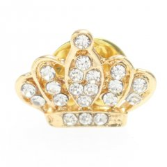 ピンクゴールド・きらきらの王冠クラウンのラペルピン・ブローチ