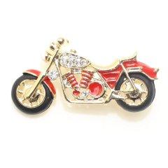 レッド赤・駆け抜けろ・きらきらバイクのラペルブローチ・ラペルピン
