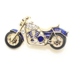 ブルー青・駆け抜けろ・きらきらバイクのラペルブローチ・ラペルピン