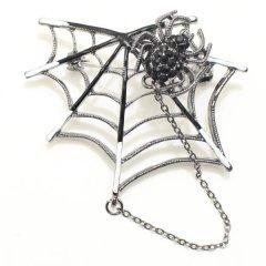 ブラック黒スパイダー蜘蛛のラペルブローチ・ラペルピン
