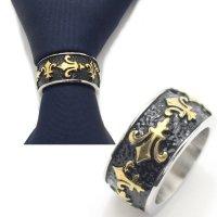フルールドリス・ブラック×ゴールドのタイリング (スカーフリング)
