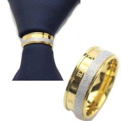 ローマ数字・ゴールド×シルバーラメのタイリング (スカーフリング)