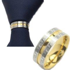 名入れ刻印サービス対象/ネクタイリング・マンジ柄風シルバーとゴールドのタイリング (スカーフリング)