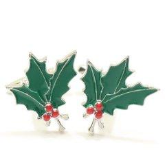 クリスマス・柊と赤い実のカフス(カフリンクス/カフスボタン)