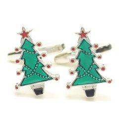 鮮やかグリーン緑のクリスマスツリーカフス(カフリンクス/カフスボタン)