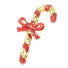 クリスマス・レッド赤×ゴールドステッキのラペルピン・ブローチ