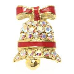 レッド赤×ゴールド・クリスマスベルのラペルピン・ブローチ