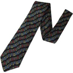 黒×赤・音楽好きさんに音符だらけのカラフルな刺繍柄面白ネクタイ