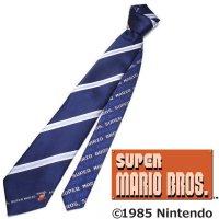 【スーパーマリオブラザーズ】ネイビー×水色・ストライプ・ジャンプマリオのキャラクターネクタイ