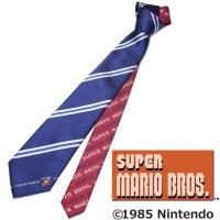 【スーパーマリオブラザーズ】ネイビー×青・ストライプ・ジャンプマリオのキャラクターネクタイ