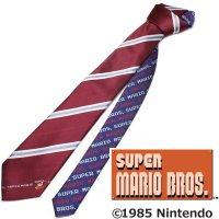 【スーパーマリオブラザーズ】ワインレッド赤×グレー・ストライプ・ジャンプマリオのキャラクターネクタイ