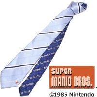 【スーパーマリオブラザーズ】サックスブルー青×ネイビー・ストライプ・ジャンプマリオのキャラクターネクタイ