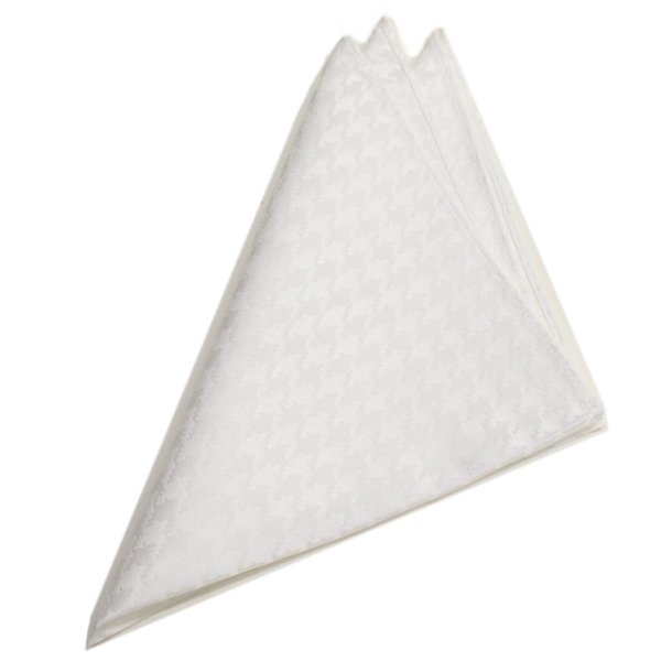 千鳥格子白・日本製シルク100%・光沢感の美しいポケットチーフ・ポケットスクウェア