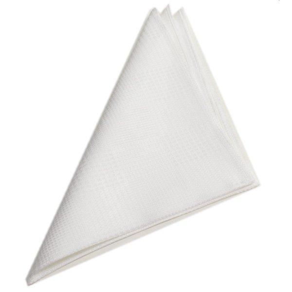 ボックスチェック白・日本製シルク100%・光沢感の美しいポケットチーフ・ポケットスクウェア