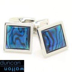 【Duncan Walton Luxury】SQUARE・アワビ貝・ブルーのカフス(カフリンクス/カフスボタン)