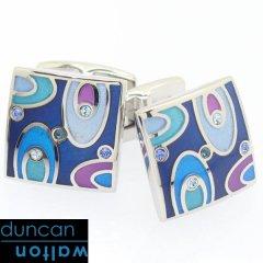 【Duncan Walton Luxury】EASTON・スワロフスキー・ブルーのエナメルカフス(カフリンクス/カフスボタン)