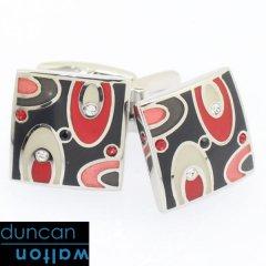 【Duncan Walton Luxury】EASTON・スワロフスキー・レッドのエナメルカフス(カフリンクス/カフスボタン)