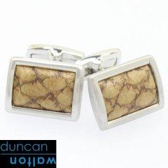 【Duncan Walton Luxury】CLADER・サーモンレザー・ブラウンのカフス(カフリンクス/カフスボタン)