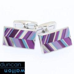 【Duncan Walton Luxury】RUSSET・レジメンタル・パープルのカフス(カフリンクス/カフスボタン)