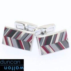 【Duncan Walton Luxury】RUSSET・レジメンタル・グレーのカフス(カフリンクス/カフスボタン)