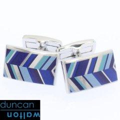 【Duncan Walton Luxury】RUSSET・レジメンタル・ブルーのカフス(カフリンクス/カフスボタン)