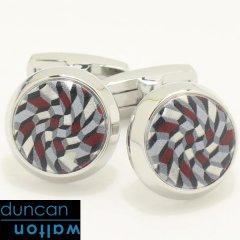 【Duncan Walton Luxury】FELDSPAR・幾何学柄・グレー×レッドのカフス(カフリンクス/カフスボタン)