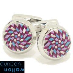 【Duncan Walton Luxury】FELDSPAR・幾何学柄・ピンク×ライトブルーのカフス(カフリンクス/カフスボタン)