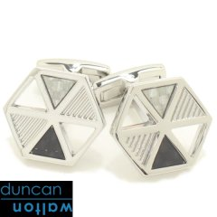 【Duncan Walton Luxury】GAVEL・六角・カーボンファイバー・シルバーのカフス(カフリンクス/カフスボタン)