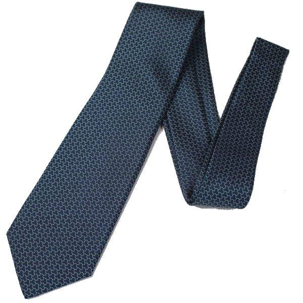【富士桜工房】緑・毘沙門亀甲・日本製シルクジャカードの和風ネクタイ