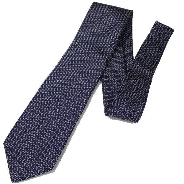 【富士桜工房】青・毘沙門亀甲・日本製シルクジャカードの和風ネクタイ