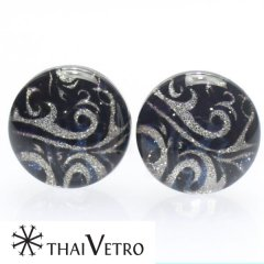 【ThaiVetro】モノトーン×ブルー・ウェーブデザインのガラス製カフス(カフスボタン/カフリンクス)