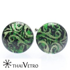 【ThaiVetro】グリーングラデーション・ウェーブデザインのガラス製カフス(カフスボタン/カフリンクス)