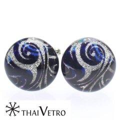 【ThaiVetro】ブルー・炎のデザインのガラス製カフス(カフスボタン/カフリンクス)