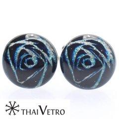 【ThaiVetro】ブルー×ホワイト・ラメラインが美しいガラス製カフス(カフスボタン/カフリンクス)