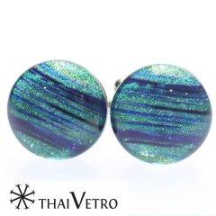 【ThaiVetro】ライトグリーン・ボーダーデザインのガラス製カフス(カフスボタン/カフリンクス)