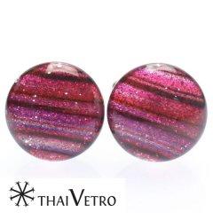 【ThaiVetro】ピンクグラデーション・ボーダーデザインのガラス製カフス(カフスボタン/カフリンクス)