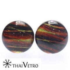 【ThaiVetro】オレンジグラデーション・ボーダーデザインのガラス製カフス(カフスボタン/カフリンクス)